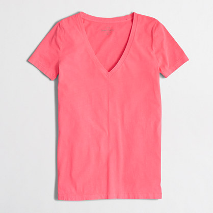 Neon sunwashed garment-dyed V-neck T-shirt