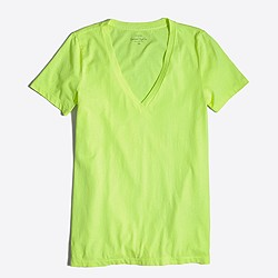 Factory neon sunwashed garment-dyed V-neck T-shirt