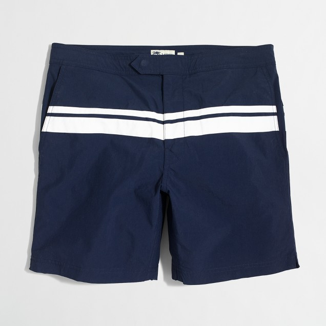 "7"" tab swim short in placed stripes"