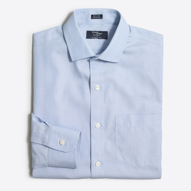 Wrinkle-free Voyager dress shirt in end-on-end cotton