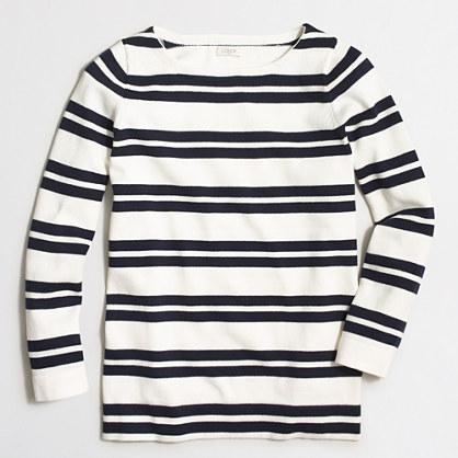 Placed-stripe boatneck sweater