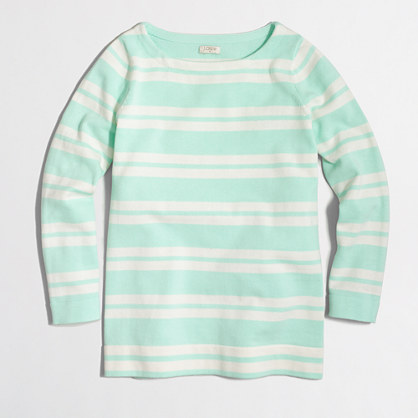 Placed-stripe boatneck sweater
