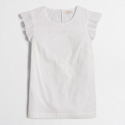 Swiss-dot flutter-sleeve top