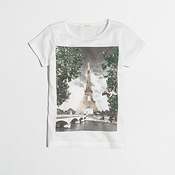 Factory girls' sequin Eiffel Tower keepsake T-shirt