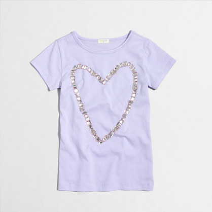 Girls' jeweled heart keepsake T-shirt