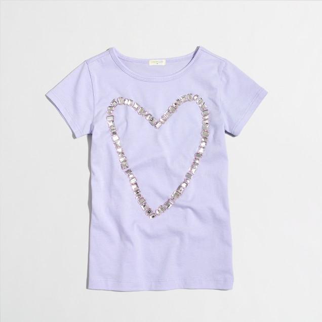 Girls' jeweled heart keepsake T-shirt