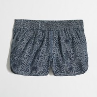 "3"" printed chambray pull-on short"