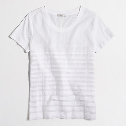 Woven-striped T-shirt