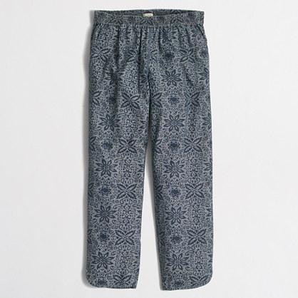Printed chambray drawstring pant