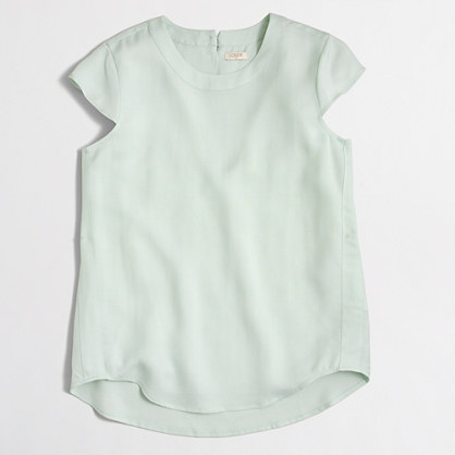 Drapey oxford crepe cap-sleeve top
