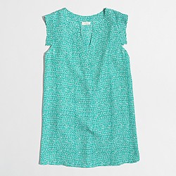 Factory printed V-neck band-sleeve shell top