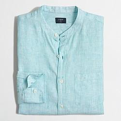 Factory slim linen band-collar shirt