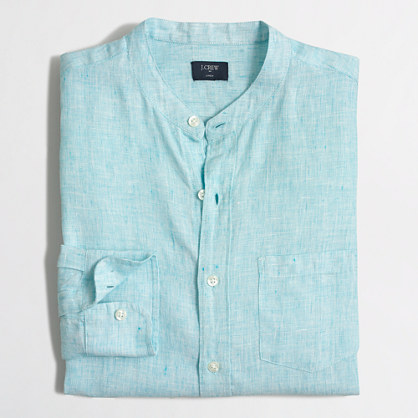 Slim linen band-collar shirt