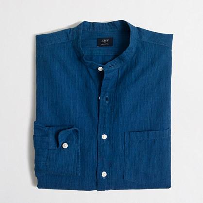 Slim indigo cotton-linen band-collar shirt