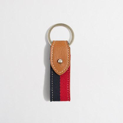 Striped canvas key chain