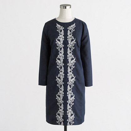 Embroidered-front dress