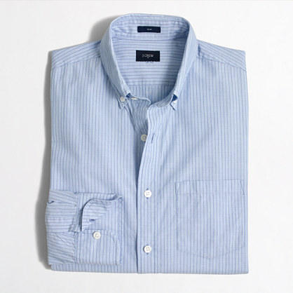 Slim washed shirt in striped end-on-end cotton