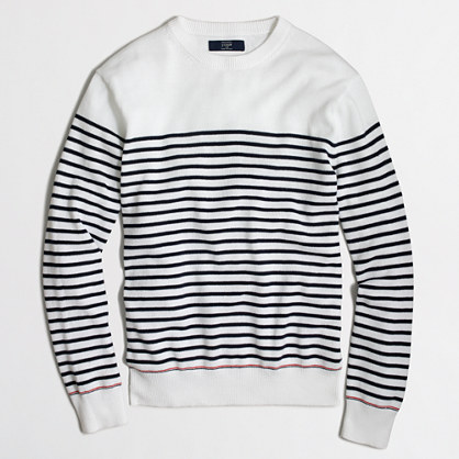 Sailor-striped cotton crewneck sweater