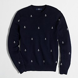 Factory embroidered cotton crewneck sweater