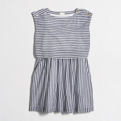 Girls' striped tiered dress