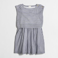 Girls' striped tiered dress