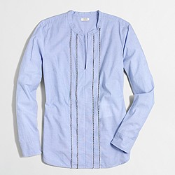 Factory corded cotton popover shirt