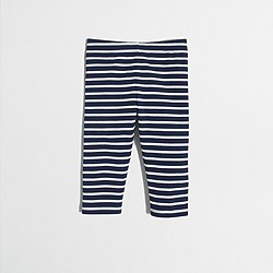 Factory girls' striped capri leggings