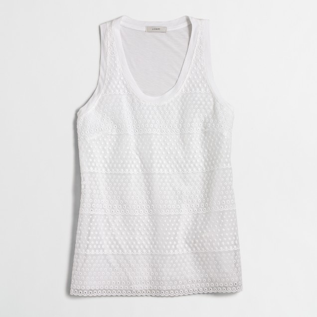 Embroidered-front tank top