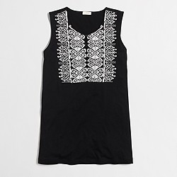 Factory embroidered-placket tank top