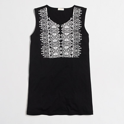 Embroidered-placket tank top