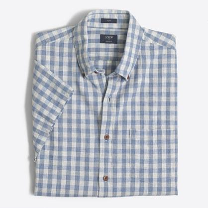 Slim short-sleeve homespun shirt