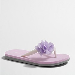 Factory girls' colorblock flower flip-flops