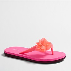 Factory girls' colorblock flower flip-flops