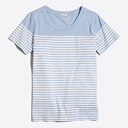 Drop-striped scoopneck T-shirt