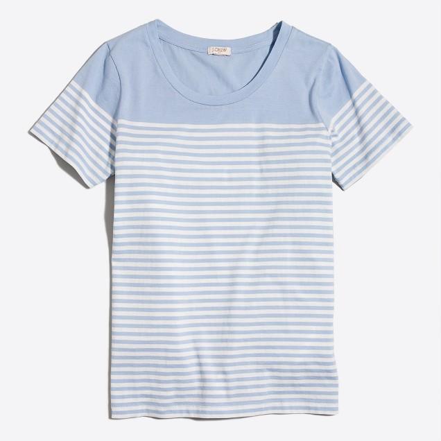 Drop-striped scoopneck T-shirt