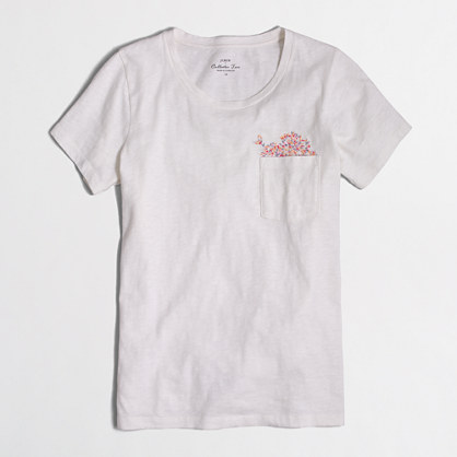 Floral embroidery collector T-shirt