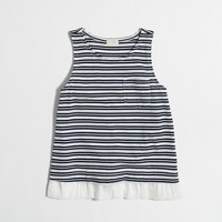 Girls' striped ruffle-hem tank top