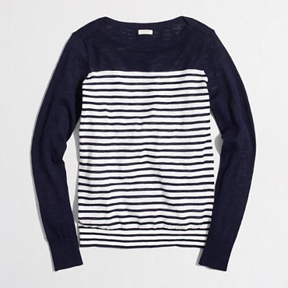 Drop-stripe boatneck sweater