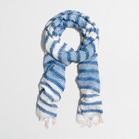 Embroidered-stripe scarf
