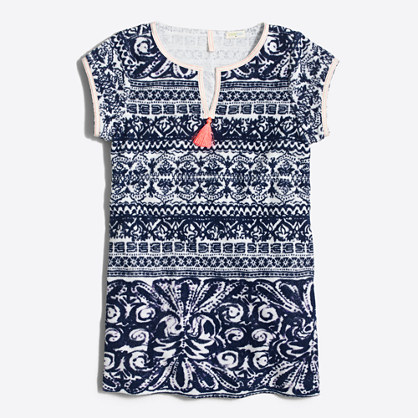 Girls' printed terry cover-up dress