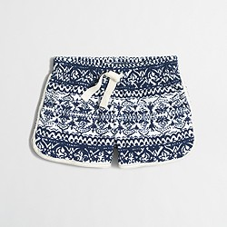Factory girls' printed terry short