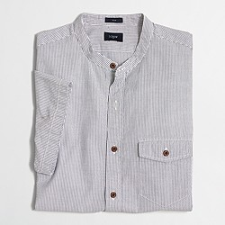Factory slim short-sleeve seersucker band-collar shirt