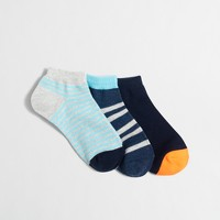 Boys' striped ankle socks three-pack