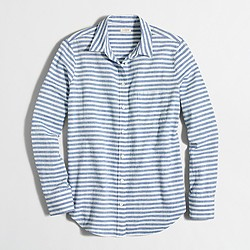 Factory striped linen-cotton shirt