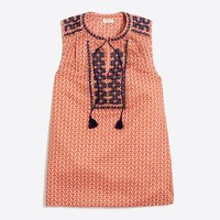 Printed embroidered tank top