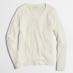 Factory lace panel Teddie sweater