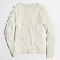 Lace panel Teddie sweater