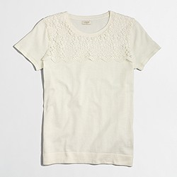 Factory lace yoke short-sleeve sweater