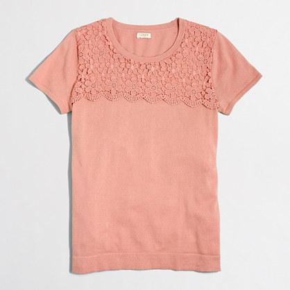 Lace yoke short-sleeve sweater