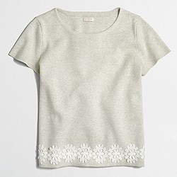 Factory lace-hem short-sleeve sweater